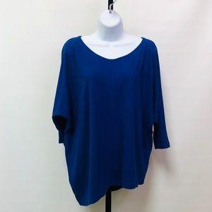 Eileen Fisher Royal Blue Asymmetrical Hem LS Top